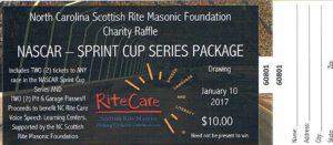2016 NC RiteCare NASCAR Raffle Ticket